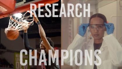 Split screen with basketball player dunking on the left and researcher in lab coat on the right