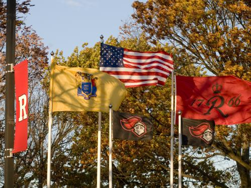 Rutgers, New Jersey and American Flags